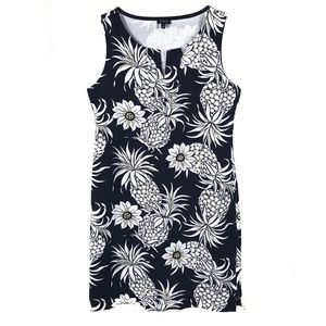 Talbots Cotton Knit Sleeveless Dress Tropical M